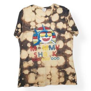 Port & Co Mommy Shark  T-shirt Bleached Tie Dye